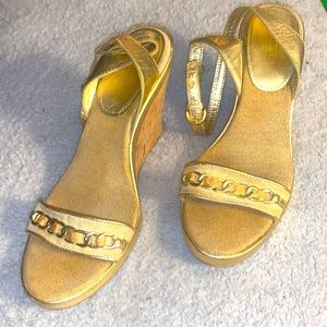 Coach,10-Gold Canvas Ankle Strap Wedges